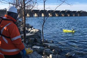 Dam Bathymetric Surveys where Manned Boats Can't Reach.